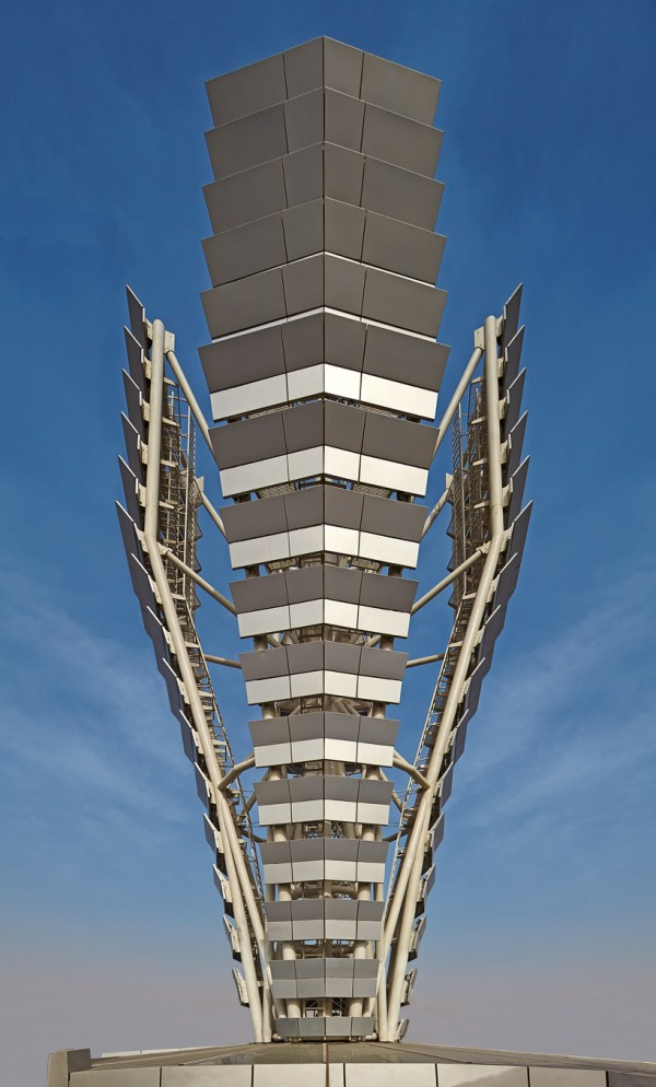 A heliostat spire on the roof also directs sunlight down the length of the the 60-story tower's central atrium. Image via SOM.