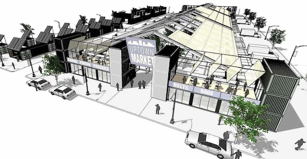 An artist's rendering of a permanent market using refurbished containers from Boxman Studios. Image by Cluck Design Collaborative via Boxman Studios.