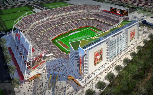 A conceptual view of the new 49ers home on a game day in 2014, with green roof and solar panels visible atop the vertical wall at right. Image by Legends Sales & Marketing via Santa Clara Stadium Authority.