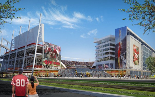 A conceptual view of the airy northwest entrance to Santa Clara Stadium. Image by Legends Sales & Marketing via Santa Clara Stadium Authority.