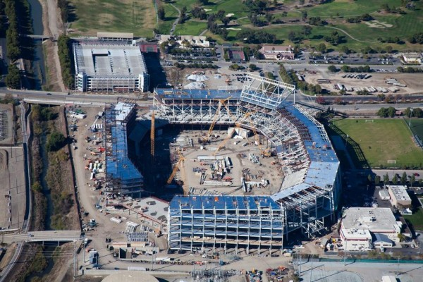 The steel framework of the new Santa Clara Stadium slowly rises in this November 2012 aerial view. Image via San Francisco 49ers.