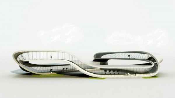 "Janjaap Ruijssenaars' Möbius-shaped Landscape House is set to be ""printed"" in 3D by 2014. Image via Universe Architecture."