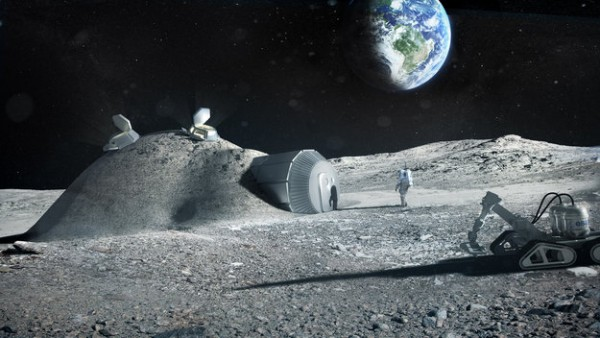 Artist's concept of a Moon base partially constructed out of 3D-printed lunar soil. Image via the European Space Agency.