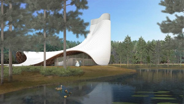 The design for the new Florida Interfaith Chapel resembles a flowing wedding gown, many of which are sure to come before the altar. Image by Brooks + Scarpa.