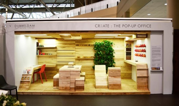 Dubbeldam Architecture turned heads at the Toronto Interior Design Show with its modular and trendy Pop-Up Office. Image by Dubbeldam Architecture + Design via Designboom.