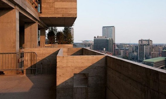 A view from one of the concrete balconies that will soon be covered with vegetation. Image via Stafano Boeri Architetti.