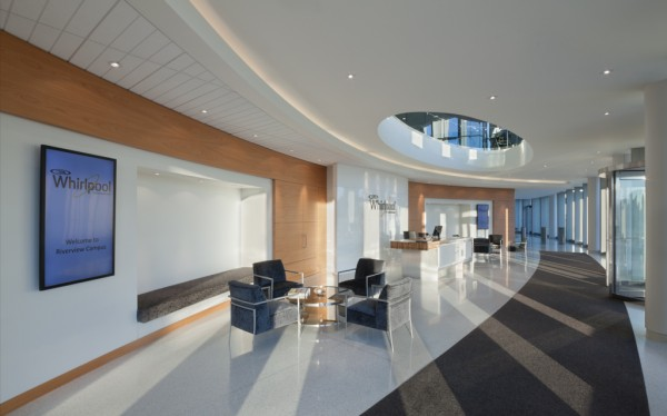 The entrance to Whirlpool's new Benton Harbor, Mich., campus. Image by James Steinkamp via Interior Architects.