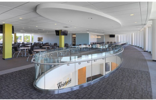 Improvements to the dining hall of the Benton Harbor facility have made it a convertible, multifunctional space. Image by James Steinkamp via Interior Architects.