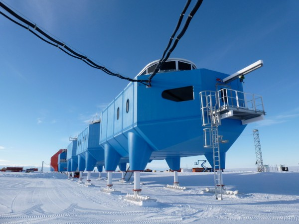 The Antarctic's Halley VI Research Station looks like it crawled out of the tropics but is ideally suited to the cold. Image via Hugh Broughton Architects.