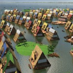 An artist's rendering of an entire sustainable floating community based on Adeyemi's designs. Image via NLE Architecture.