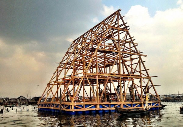 A prototype of the floating school nears completion in Nigeria. Image via NLE Architecture.