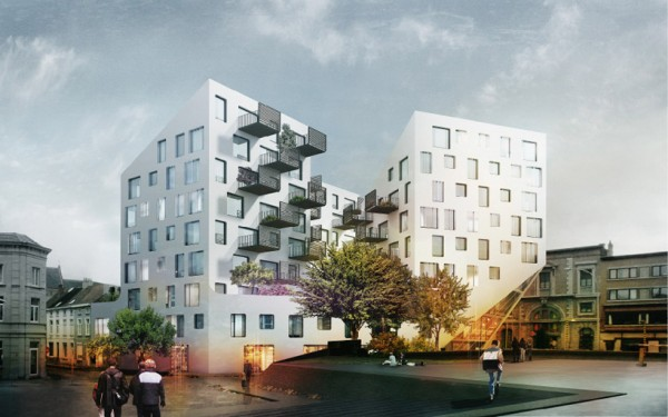Option 2: The apartments are broken into three towers and connected by green spaces. Image via JDS Architects.