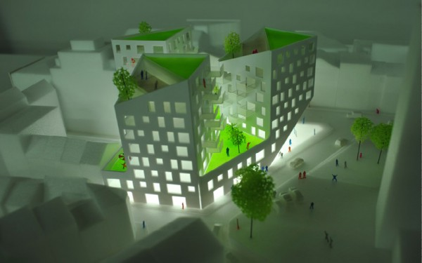 A model of the three-tower Option 2 emphasizes the multiple levels of green roofs. Image via JDS Architects.
