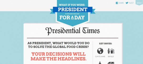 President for a day, global hunger, action aid