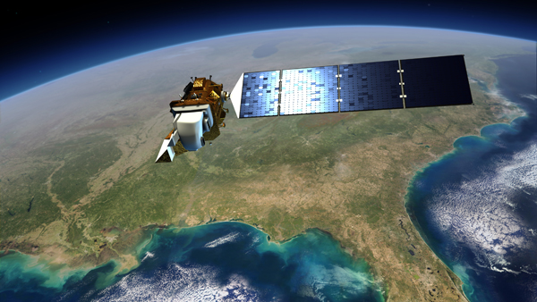 An artist rendering showing Landsat 8 flying over the southeastern U.S. (image credit: NASA)