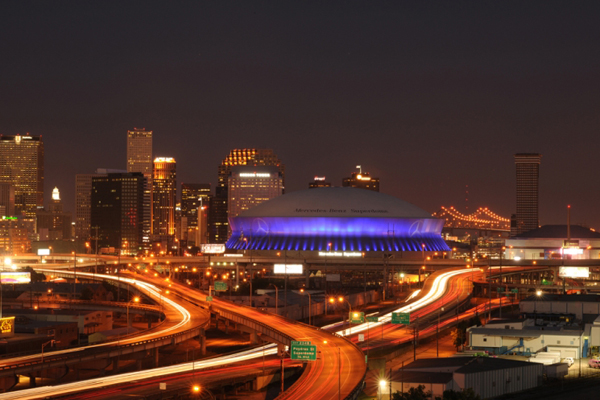 New Orleans' Mercedes-Benz Superdome features more than 26,000 LED lights on the building's exterior. The system uses only 10 kilowatts of electricity, equivalent to powering a small home. (image via SMG)