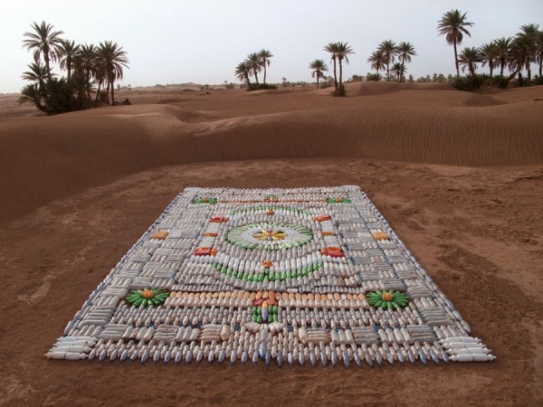upcycled, carpet, art, plastic bottles