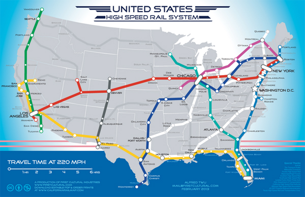 US High Speed Rail map (click for larger version - image via Alfred Twu)