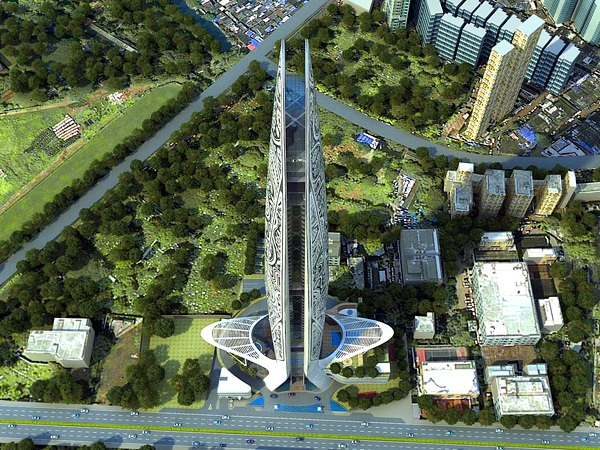 Some of the green landscaping planned for the Namaste Tower. Image via WS Atkins.