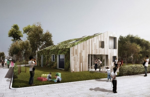 Artist's concept of completed WorldFlexHome, with green roof and wall. Image via WorldFlexHome.