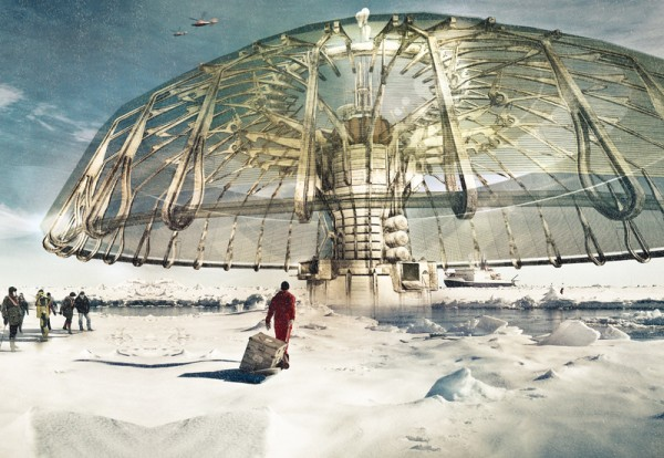 First Prize: Derek Pirozzi's Polar Umbrella seeks to save and rebuild the melting ice caps. Image via eVolo Magazine.