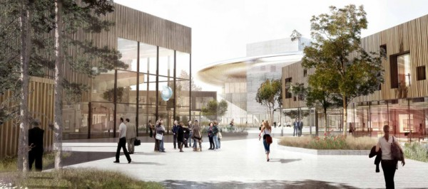 The European Spallation Source (ESS) campus design will have ample open outdoor areas in which scientists can interact. Image via Henning Larsen Architects.