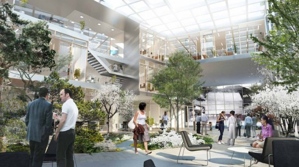 Interior spaces at ESS will have an abundance of plant life and informal meeting areas. Image via Henning Larsen Architects.