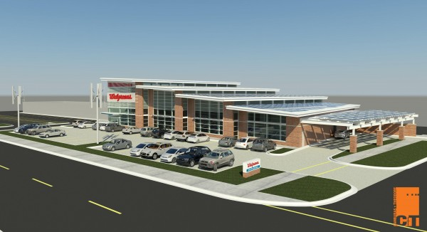 The planned Walgreens store is expected to generate more power than it needs by using solar, wind and geothermal energy. Image via BusinessWire.