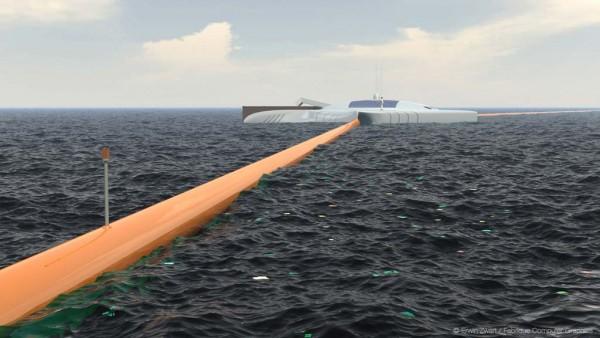 Slat ocean clean up array