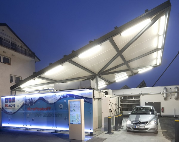 This hydrogen-car fueling station in Germany has a solar canopy to help offset the energy used to provide hydrogen (image via image via Fraunhofer ISE)