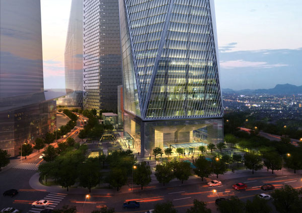 The landscaped base of SOM's proposed Diagonal Tower. Image via SOM/Crystal CG.