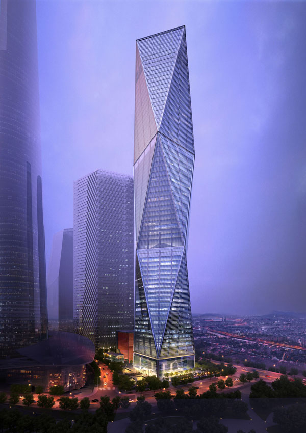 The tower's twisted shape allows builders to use less steel without sacrificing strength. Image via SOM/Crystal CG.