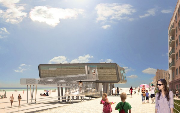 These modular, flood-proof lifeguard stations may be in place in New York beaches by Memorial Day. Image via Garrison Architects.