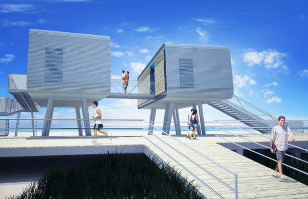 The net-zero structures are to be elevated above Sandy's storm-surge level. Image via Garrison Architects.