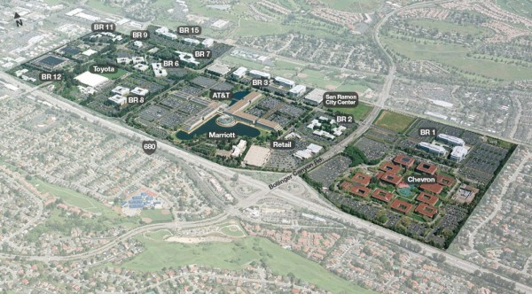 The 585-acre campus, representing 10 percent of California's new LEED square footage for 2012. Image by Bishop Ranch Office Park.