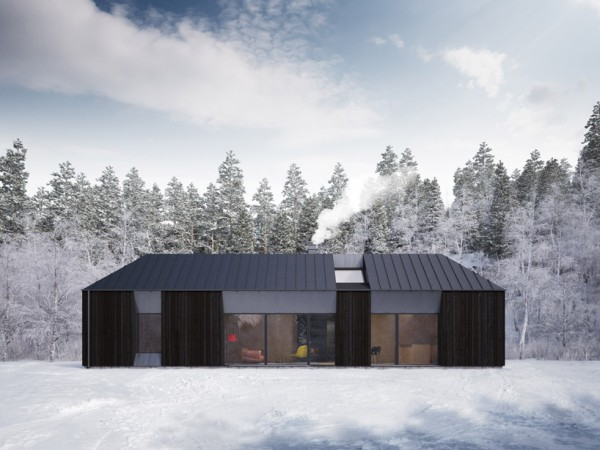 The basic Tind prefab house is a simple one-story box with a gently sloping roof. Image via Claesson Koivisto Rune.