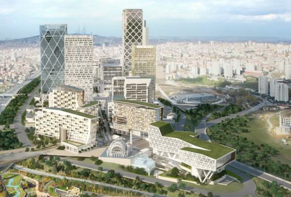The master plan for HOK's 170-acre International Finance Center in Istanbul. Image via HOK.