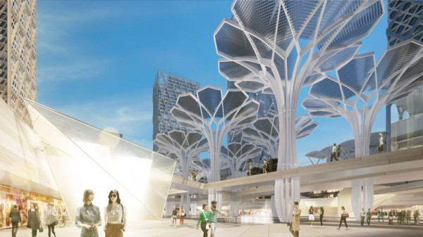 An artist's rendering of one of the planned public plazas. Image via HOK.