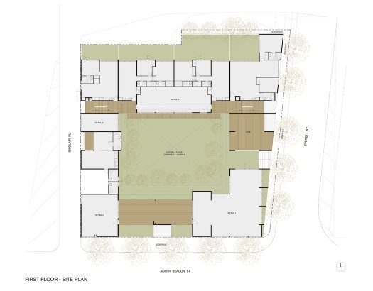 Ground floor plan showing green garden areas in place of parking spaces. Image via Sebastian Mariscal Studio.