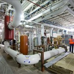 The mechanical room under the ESIF building transfers excess server heat to keep the NREL offices and labs warm. Image by Dennis Schroeder via NREL.