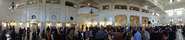 Panorama of crowds at the April 24 Opening Reception. Image via Amtrak Cascades.