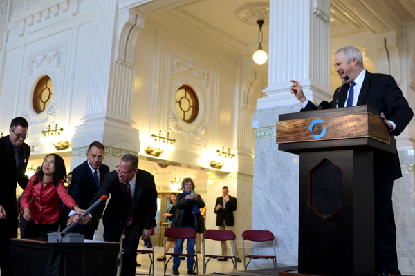 Seattle Mayor Mike McGinn speaks during the opening ceremony for the refurbished King Street Station. Image via Office of Mayor Mike McGinn.