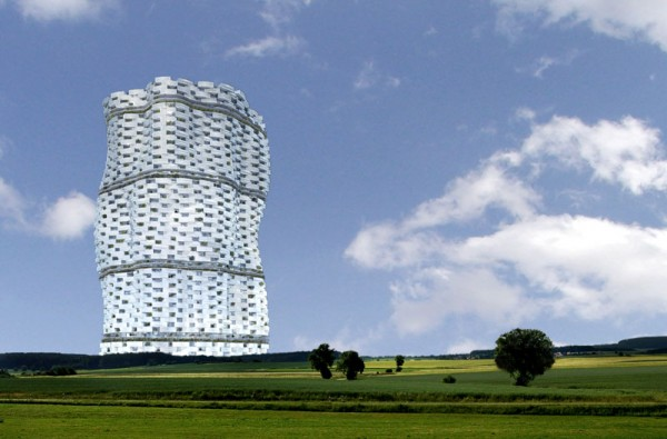 A vision of the completed tower as it would look in Meuse, France. Image via Gramazio & Kohler Architekten.