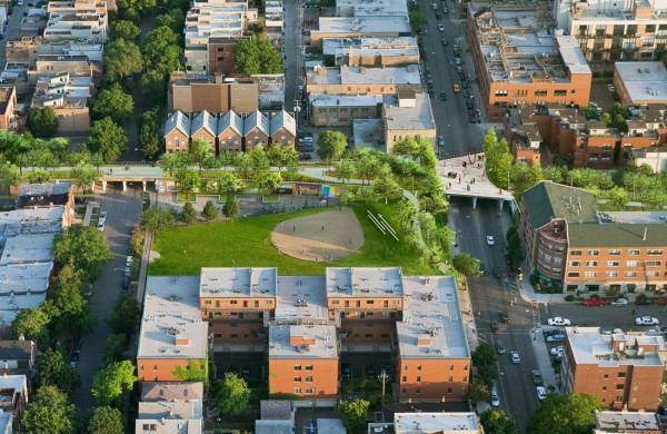 Birds-eye view of proposed Churchill Field Park with access to landscape and arts plaza. Aerial image courtesy of David Schalliol via Bloomingdale Trail.