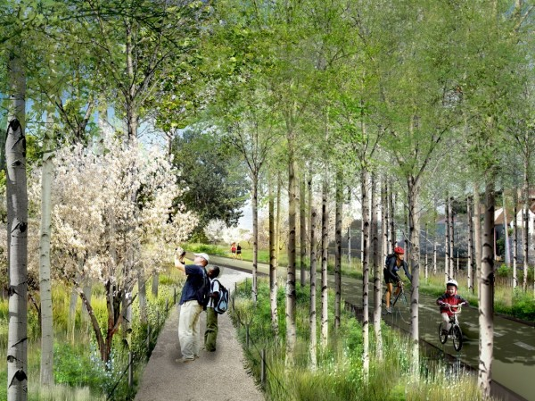 Proposed landscape design for the converted rail bed. Image via Bloomingdale Trail.