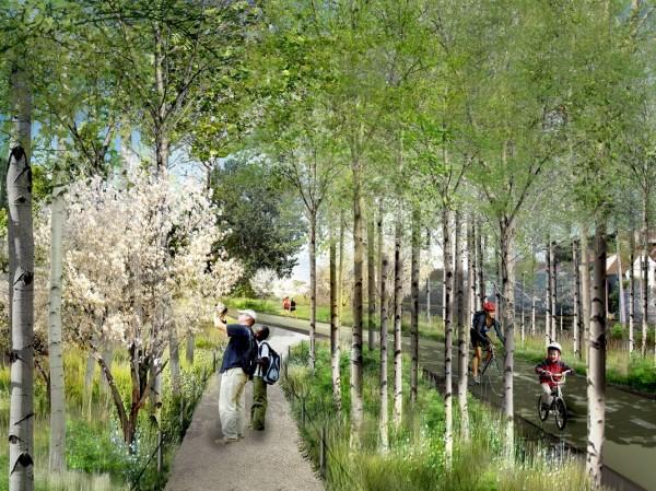 Proposed landscape design for the converted rail bed. Image via Bloomingdale Trail.