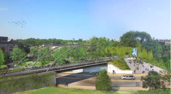 Proposed Proposed Milwaukee Avenue bridge at Leavitt Street. Image via Bloomingdale Trail.