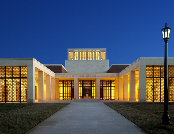 The entrance to the LEED Platinum-certified library for President Bush. Image via George W. Bush Presidential Center.