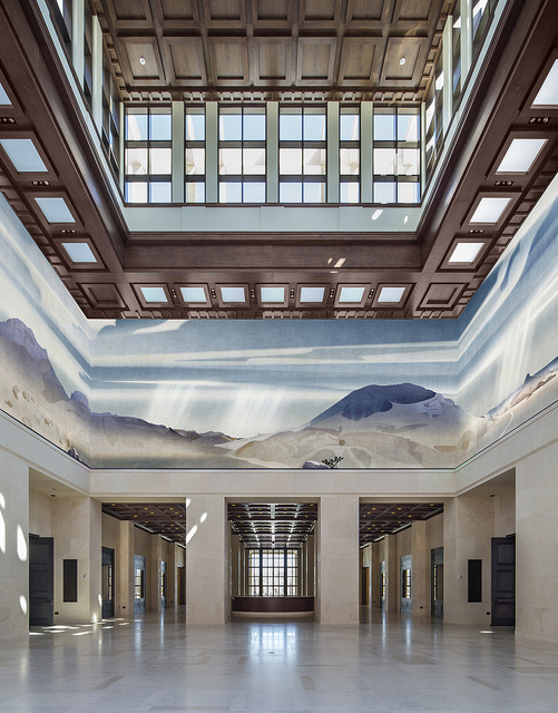 "The central ""Freedom Hall"" inside the Bush Library. Image by Peter Aaron/Otto for Robert A M Stern Architects via the George W. Bush Presidential Center."