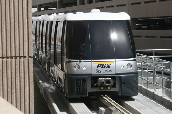 Cars operated by PHX Sky Train leave every few minutes and make the trip between Metro light rail and Sky Harbor's Terminal Four in about five minutes. (image via Cronkite News)